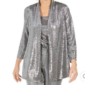 NWT Kasper Silver Metallic Sequined Cardigan Large